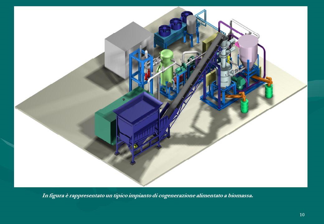 In figura è rappresentato un tipico impianto di cogenerazione alimentato a biomassa.