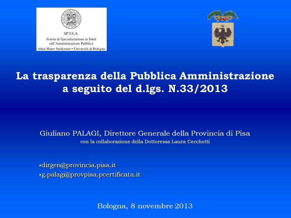 La trasparenza della Pubblica Amministrazione