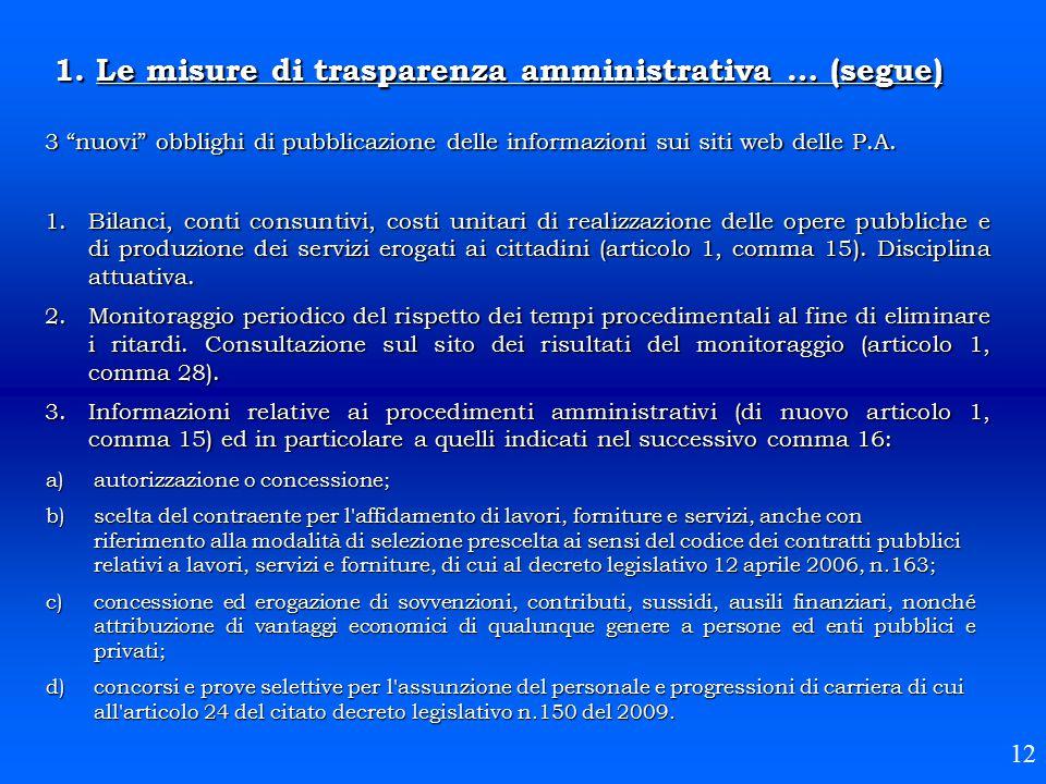1. Le misure di trasparenza amministrativa … (segue)
