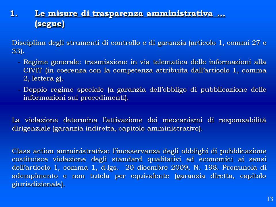 Le misure di trasparenza amministrativa … (segue)