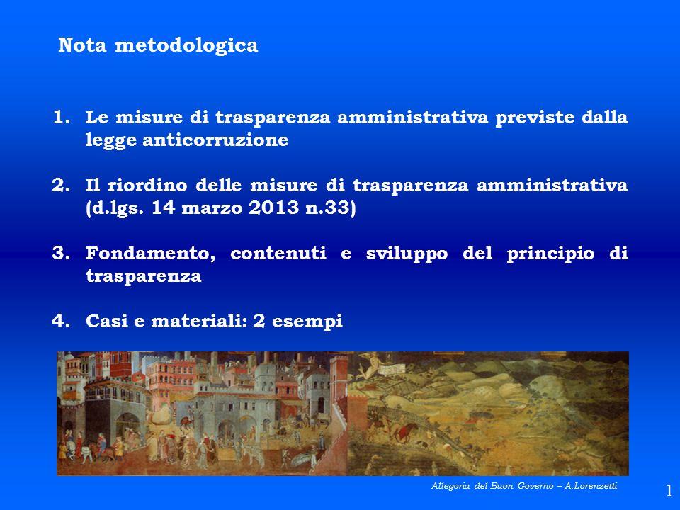 Nota metodologica Le misure di trasparenza amministrativa previste dalla legge anticorruzione.