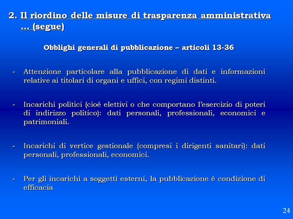 Obblighi generali di pubblicazione – articoli 13-36