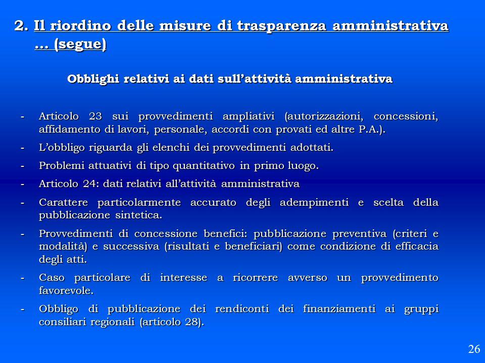 Obblighi relativi ai dati sull'attività amministrativa