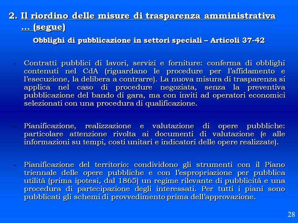 Obblighi di pubblicazione in settori speciali – Articoli 37-42