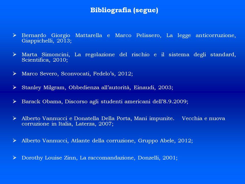 Bibliografia (segue) Bernardo Giorgio Mattarella e Marco Pelissero, La legge anticorruzione, Giappichelli, 2013;