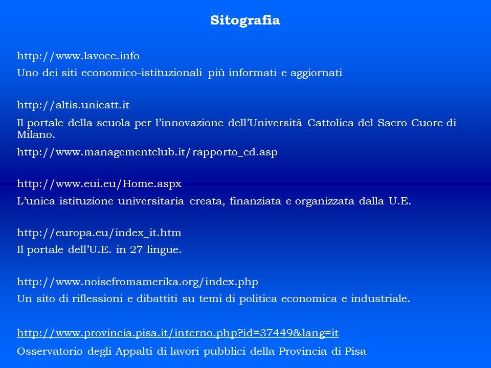Sitografia http://www.lavoce.info