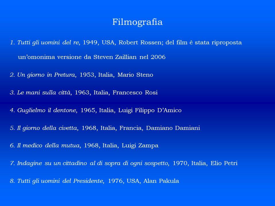 Filmografia 1. Tutti gli uomini del re, 1949, USA, Robert Rossen; del film è stata riproposta un'omonima versione da Steven Zaillian nel 2006.