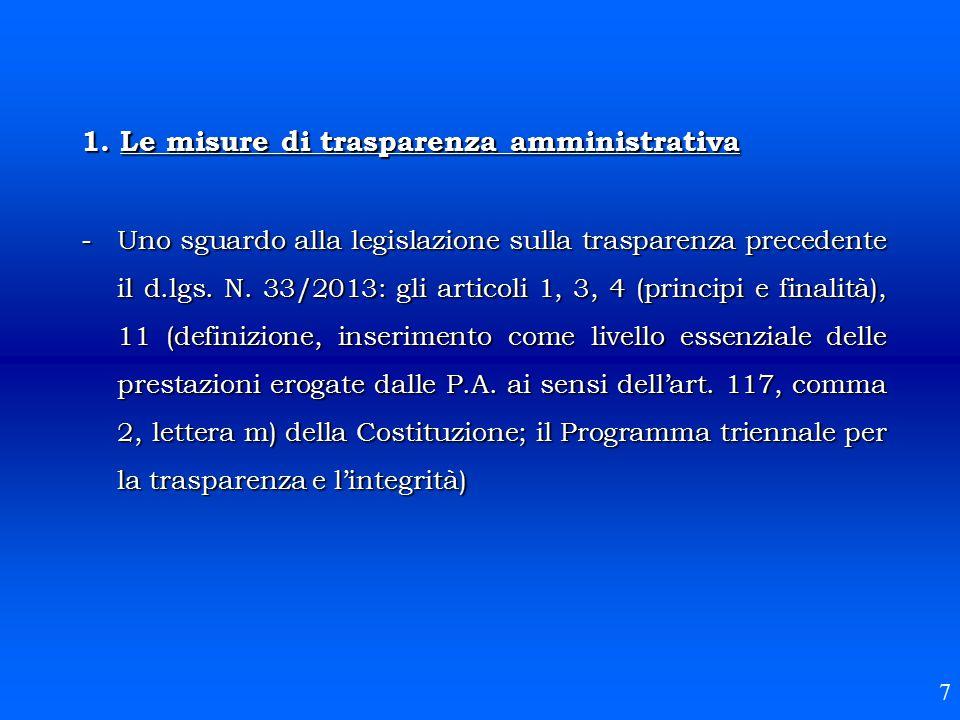 1. Le misure di trasparenza amministrativa