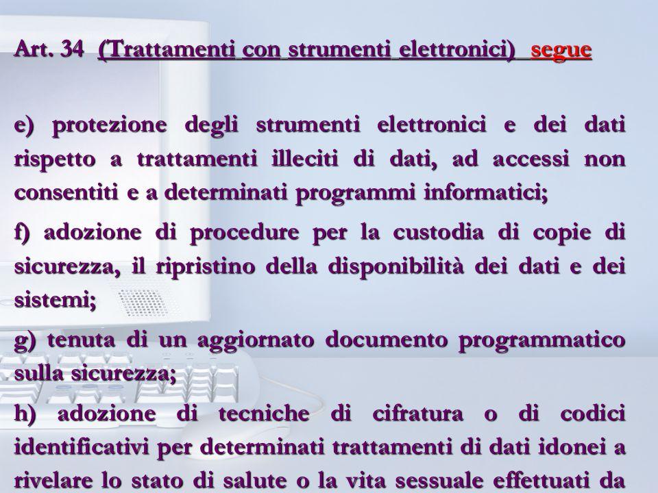 Art. 34 (Trattamenti con strumenti elettronici) segue