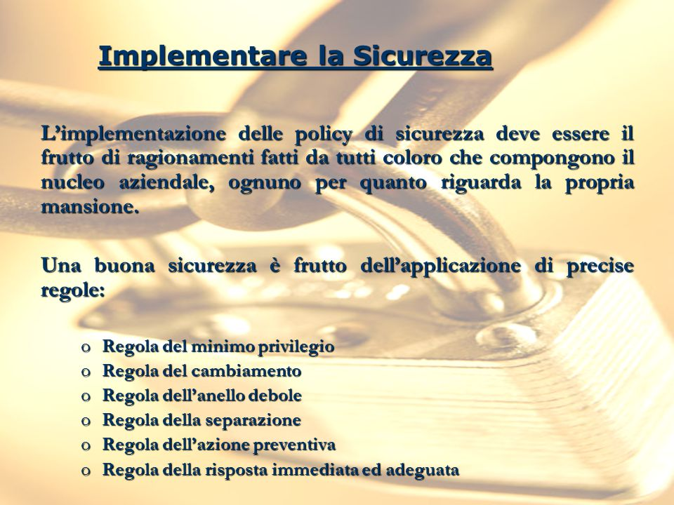 Implementare la Sicurezza
