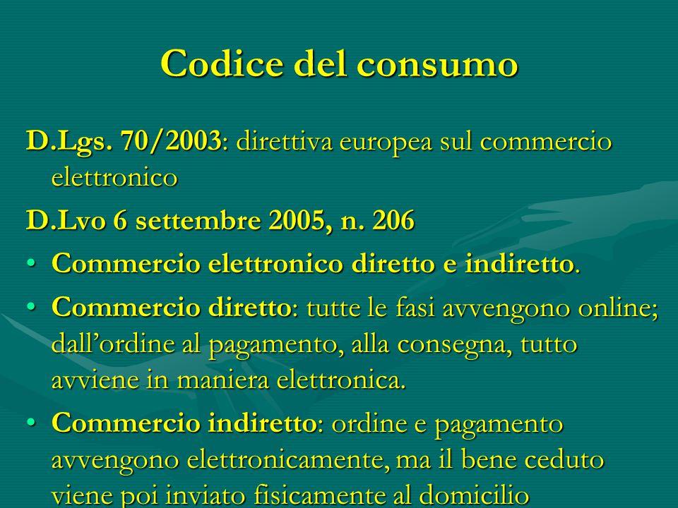 Codice del consumo D.Lgs. 70/2003: direttiva europea sul commercio elettronico. D.Lvo 6 settembre 2005, n. 206.