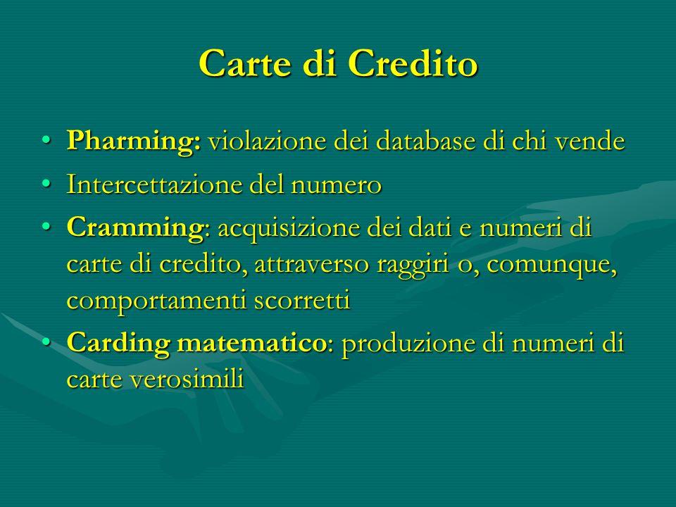Carte di Credito Pharming: violazione dei database di chi vende