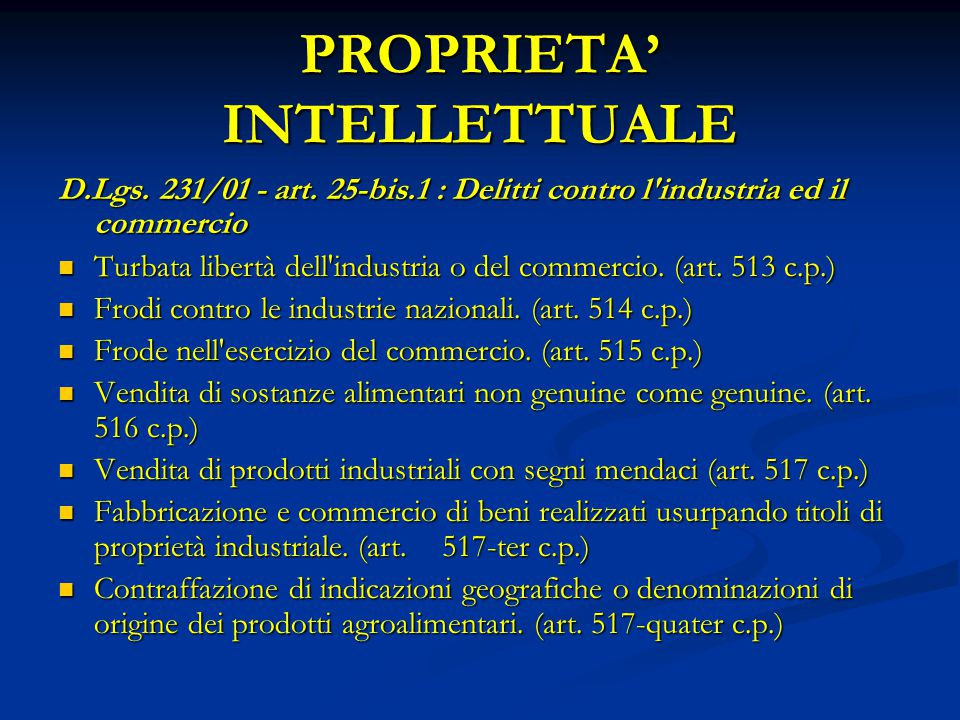 PROPRIETA' INTELLETTUALE