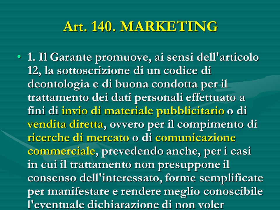 Art. 140. MARKETING