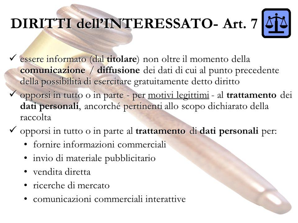 DIRITTI dell'INTERESSATO- Art. 7
