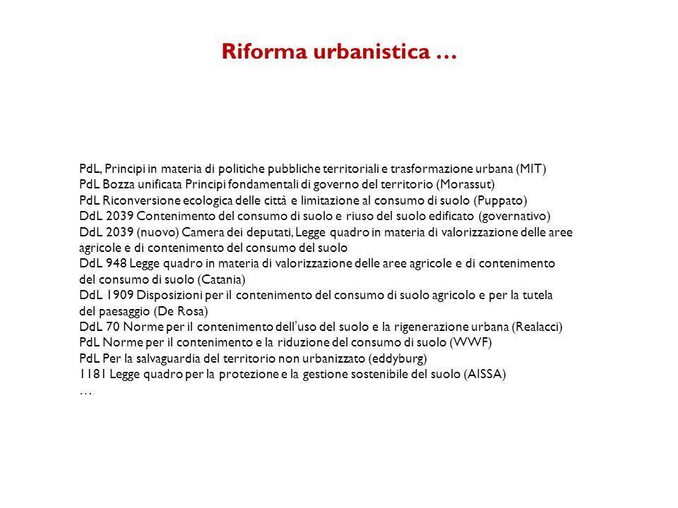 Riforma urbanistica … PdL, Principi in materia di politiche pubbliche territoriali e trasformazione urbana (MIT)