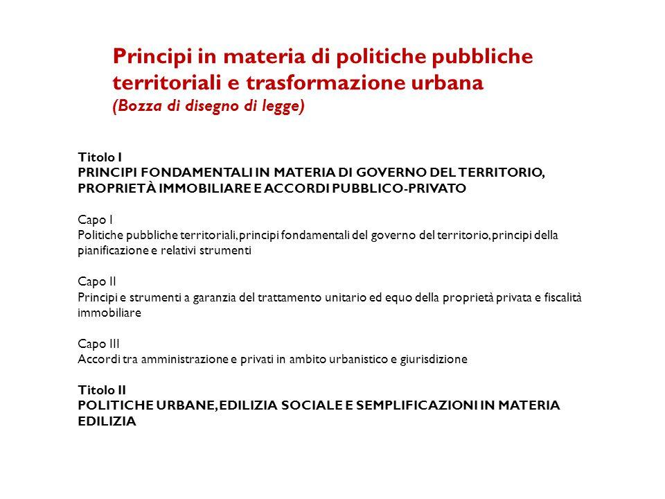 Principi in materia di politiche pubbliche territoriali e trasformazione urbana
