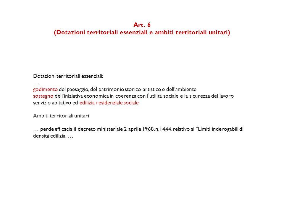 (Dotazioni territoriali essenziali e ambiti territoriali unitari)