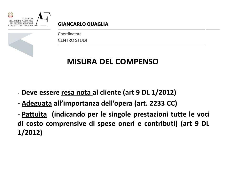 MISURA DEL COMPENSO - Deve essere resa nota al cliente (art 9 DL 1/2012) - Adeguata all'importanza dell'opera (art. 2233 CC)