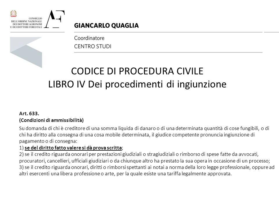 CODICE DI PROCEDURA CIVILE LIBRO IV Dei procedimenti di ingiunzione