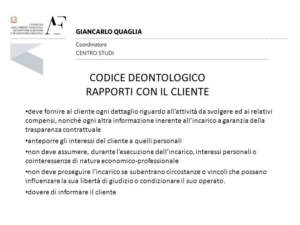 CODICE DEONTOLOGICO RAPPORTI CON IL CLIENTE