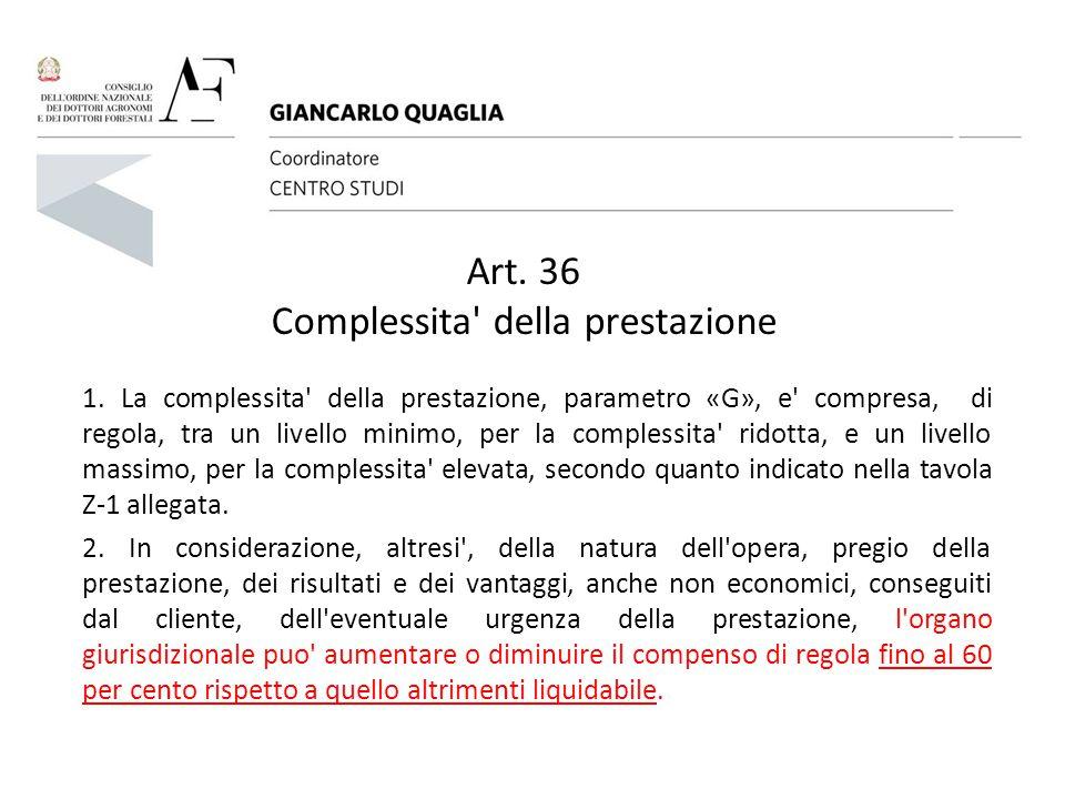 Art. 36 Complessita della prestazione