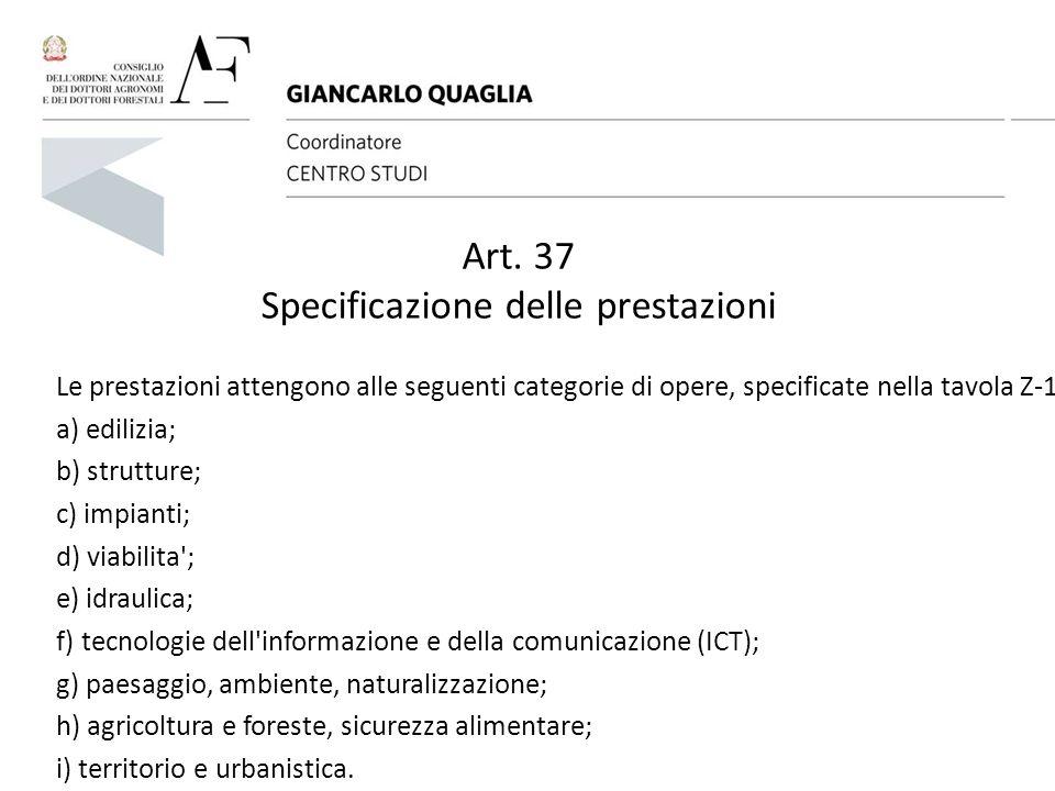 Art. 37 Specificazione delle prestazioni