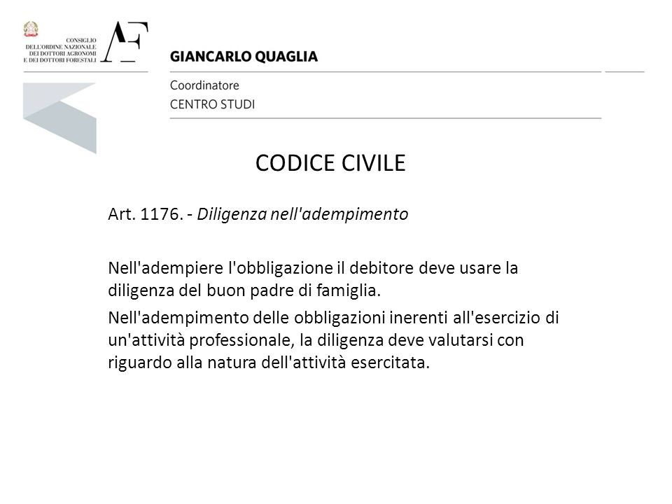 CODICE CIVILE Art. 1176. - Diligenza nell adempimento