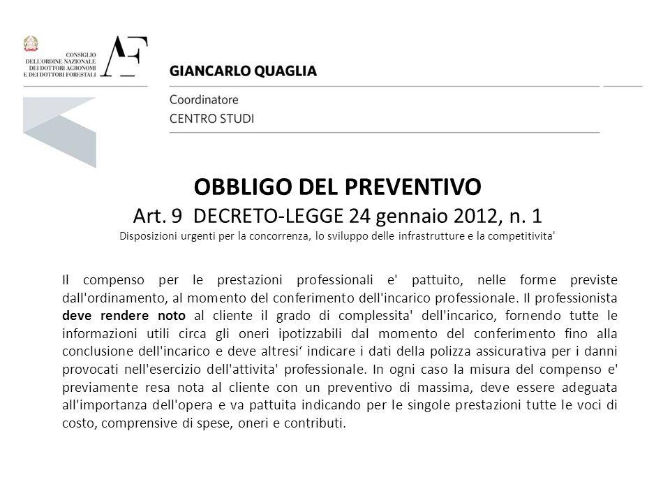 OBBLIGO DEL PREVENTIVO Art. 9 DECRETO-LEGGE 24 gennaio 2012, n