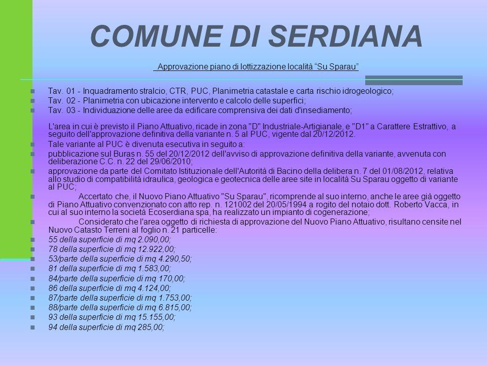 COMUNE DI SERDIANA Approvazione piano di lottizzazione località Su Sparau