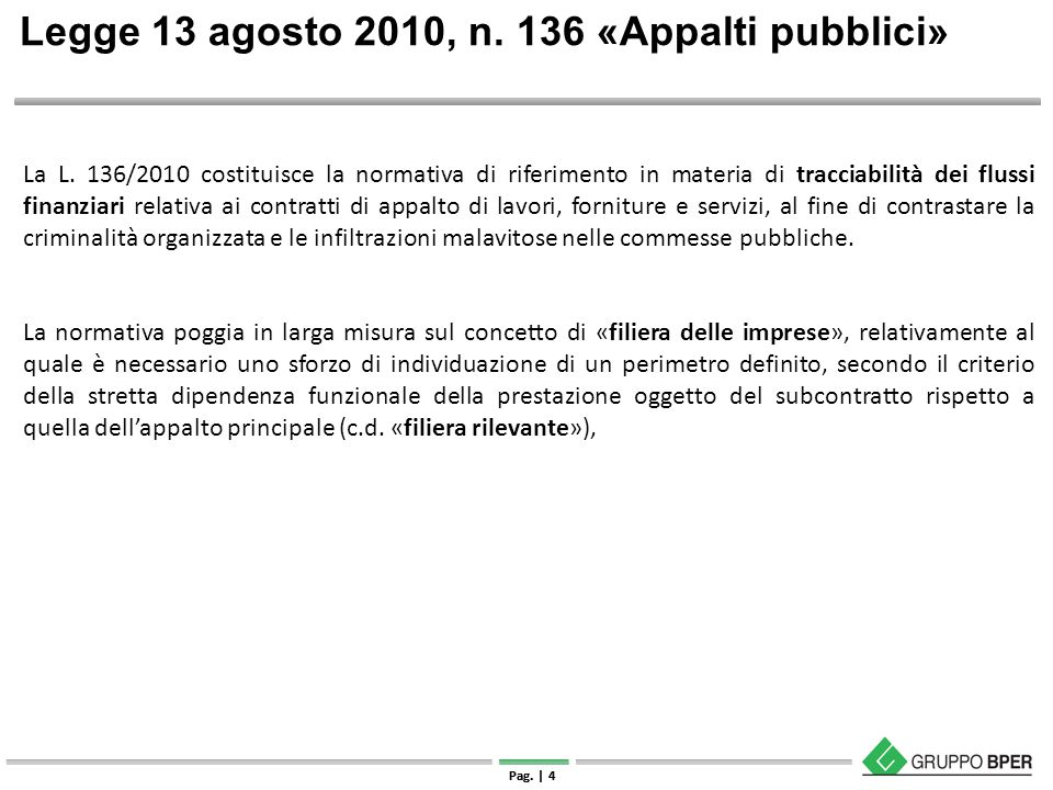 Legge 13 agosto 2010, n. 136 «Appalti pubblici»