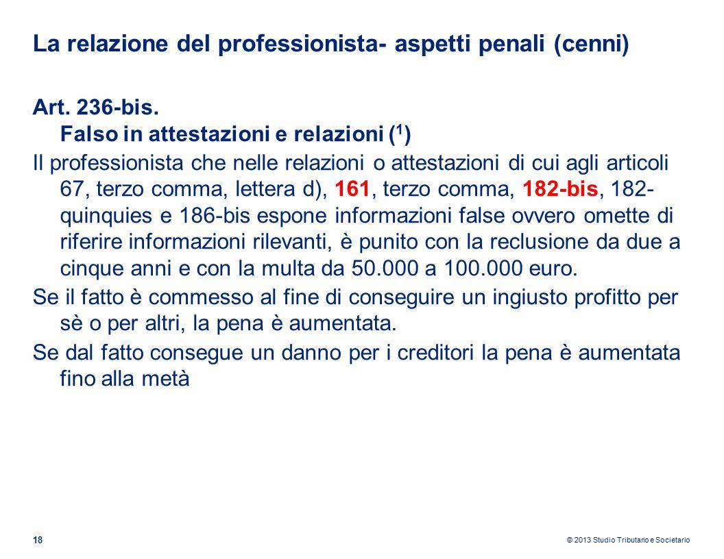 La relazione del professionista- aspetti penali (cenni)