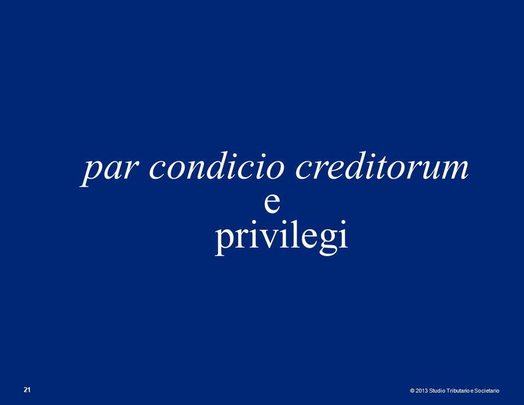 par condicio creditorum e privilegi
