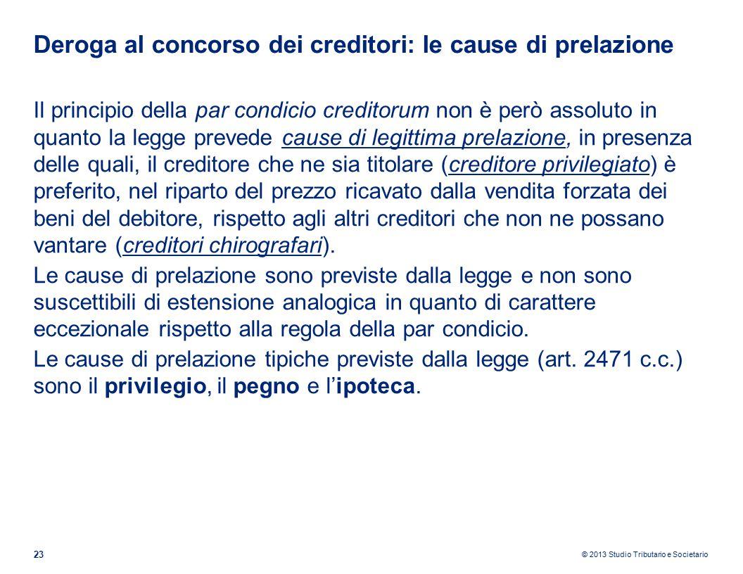 Deroga al concorso dei creditori: le cause di prelazione