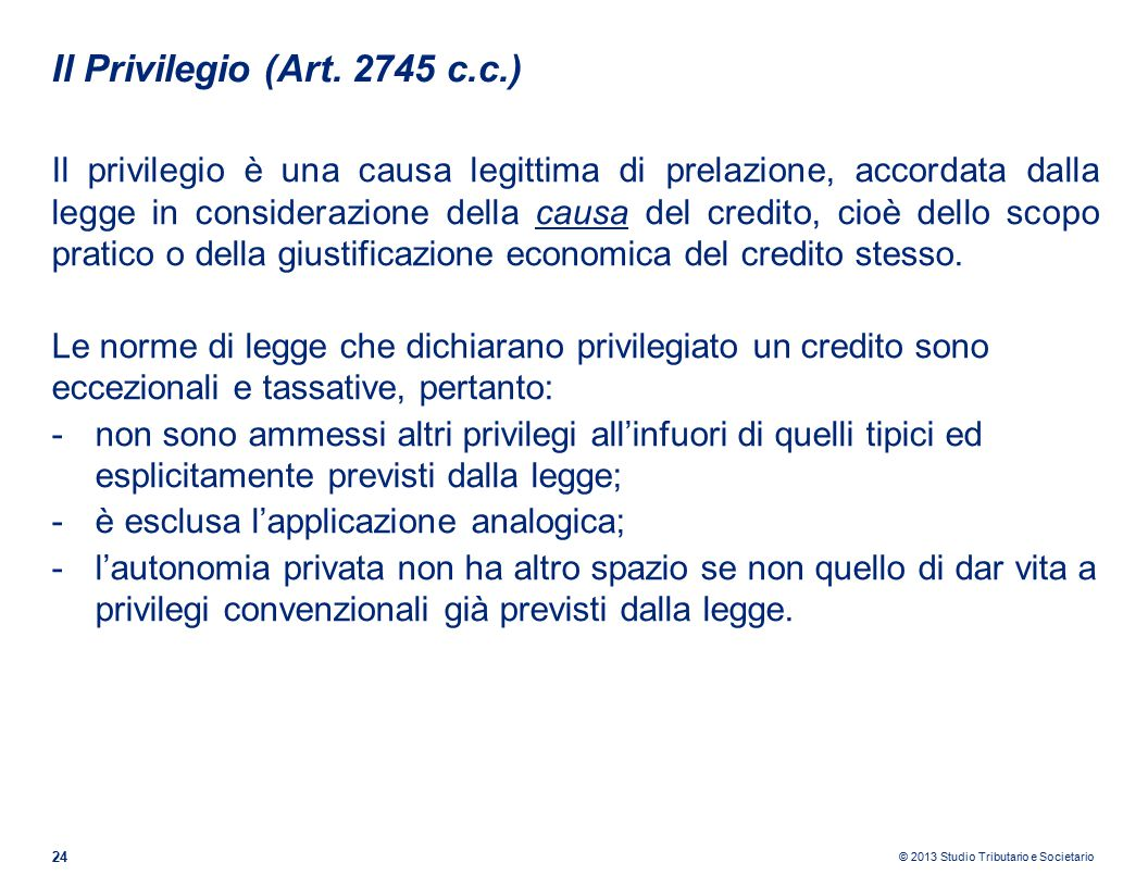 Il Privilegio (Art. 2745 c.c.)