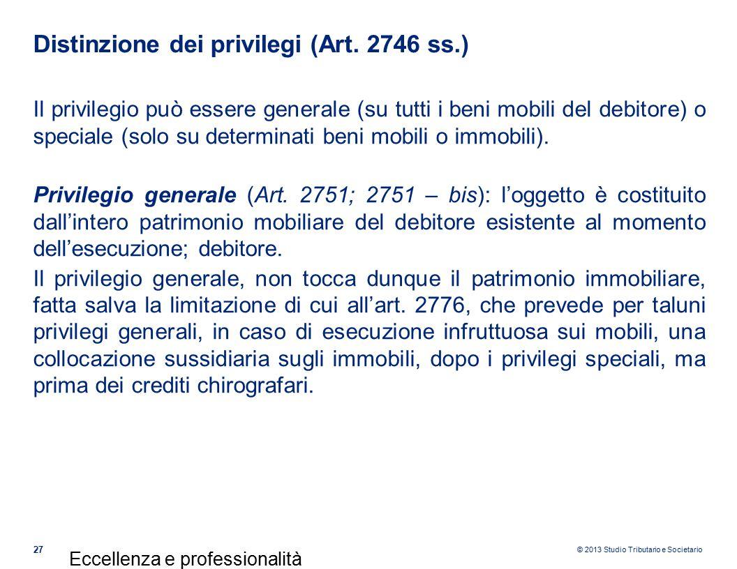 Distinzione dei privilegi (Art. 2746 ss.)