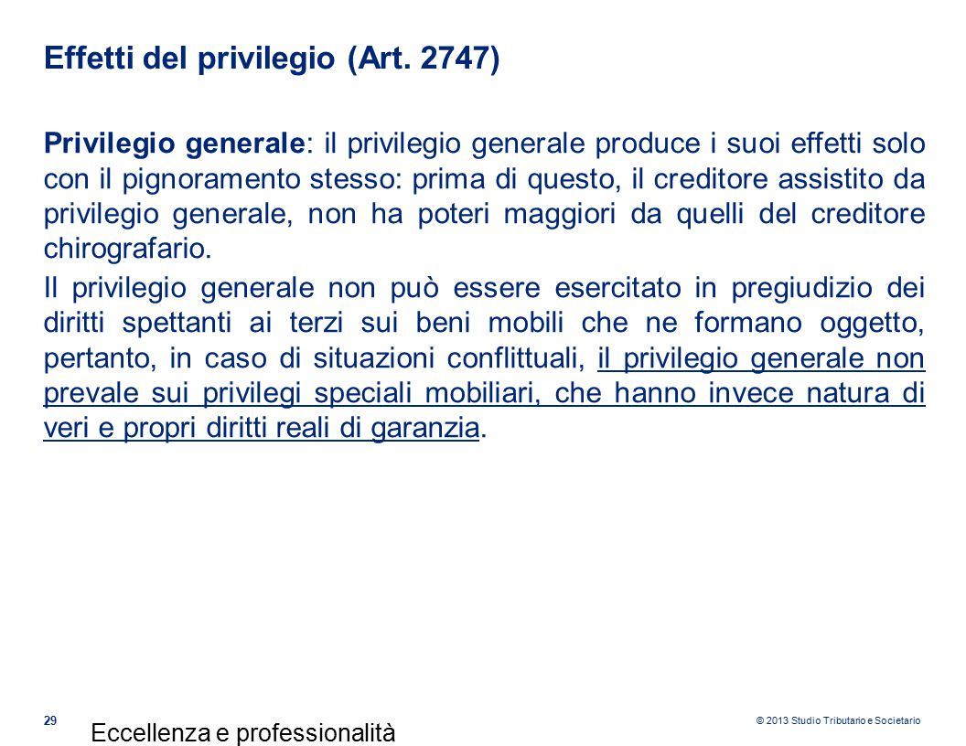 Effetti del privilegio (Art. 2747)
