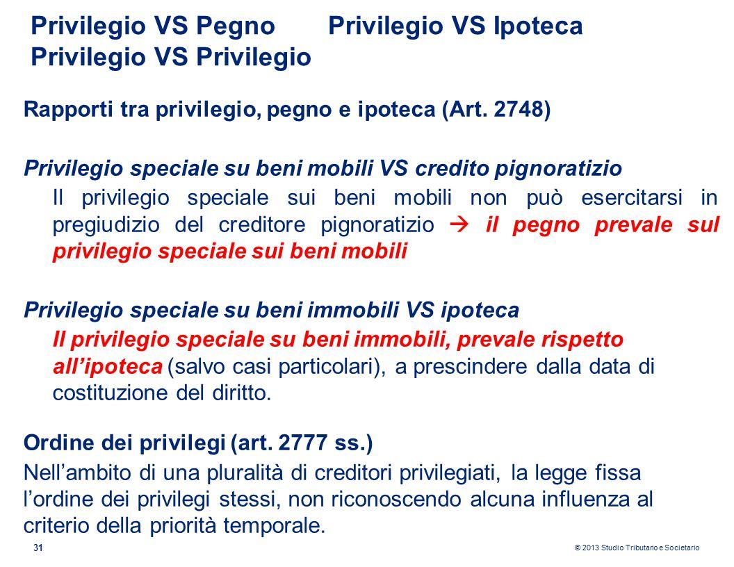 Privilegio VS Pegno Privilegio VS Ipoteca Privilegio VS Privilegio