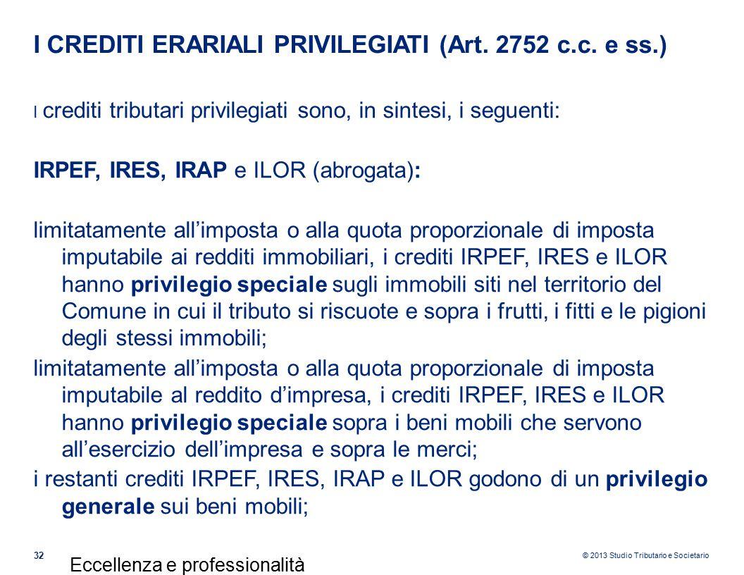 I CREDITI ERARIALI PRIVILEGIATI (Art. 2752 c.c. e ss.)