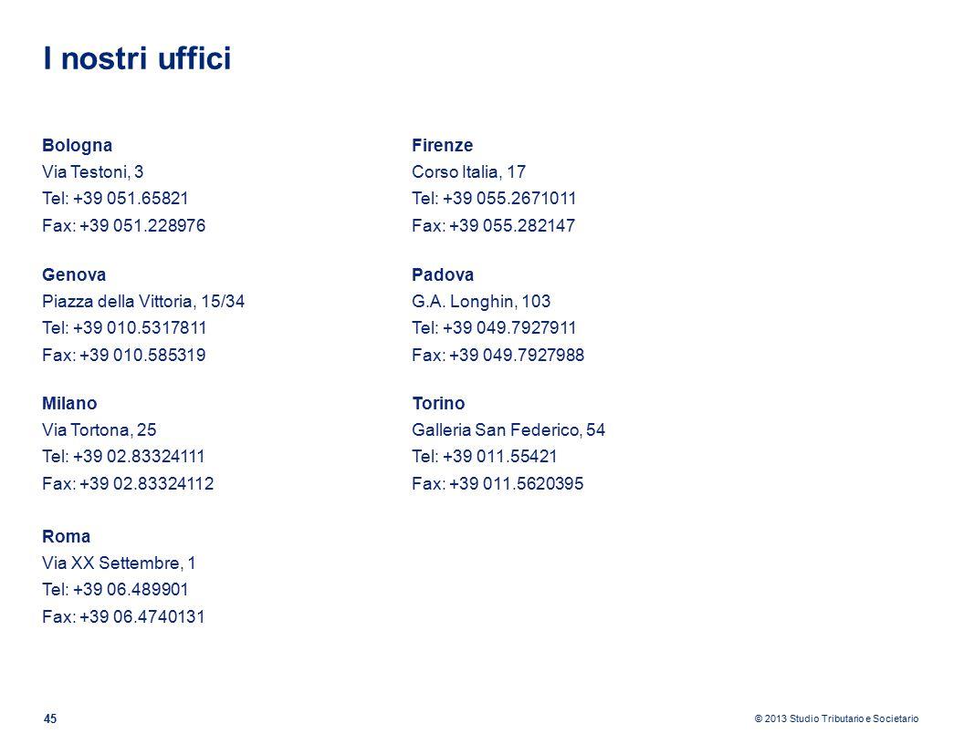 I nostri uffici Bologna Via Testoni, 3 Tel: +39 051.65821