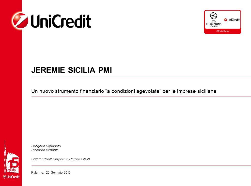 JEREMIE SICILIA PMI Un nuovo strumento finanziario a condizioni agevolate per le Imprese siciliane.