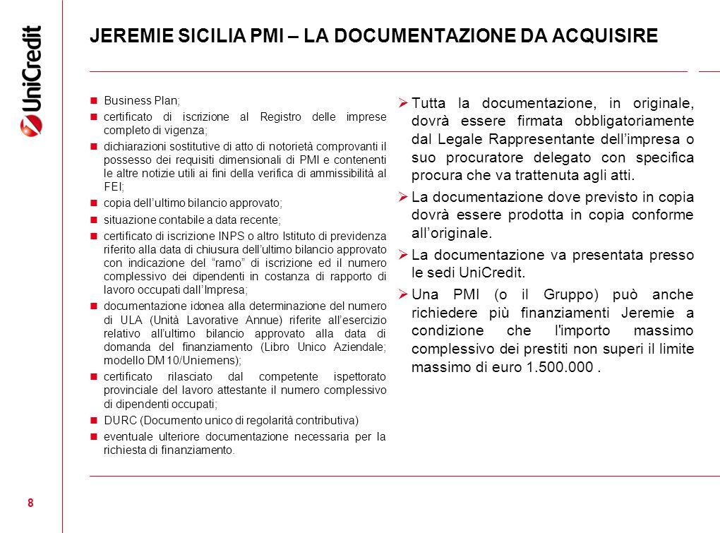 JEREMIE SICILIA PMI – LA DOCUMENTAZIONE DA ACQUISIRE