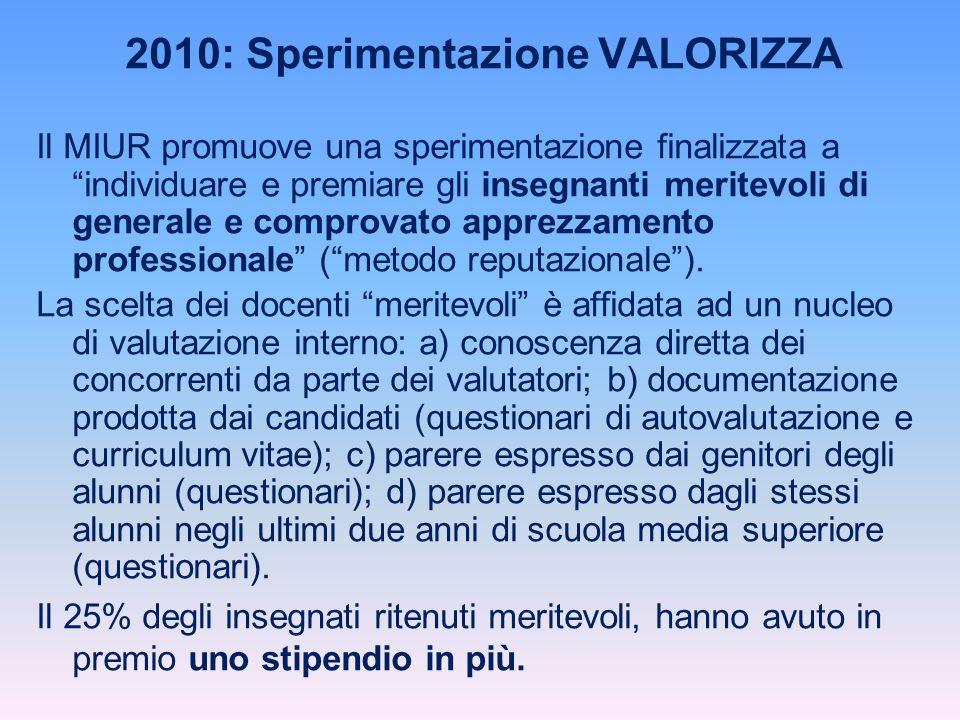 2010: Sperimentazione VALORIZZA