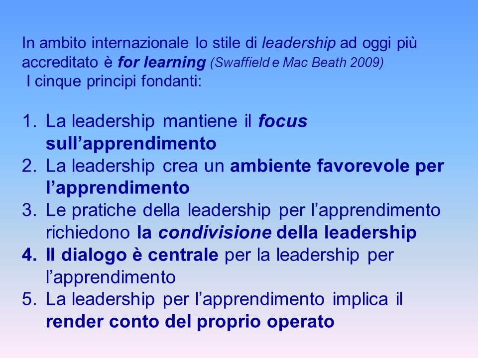 La leadership mantiene il focus sull'apprendimento