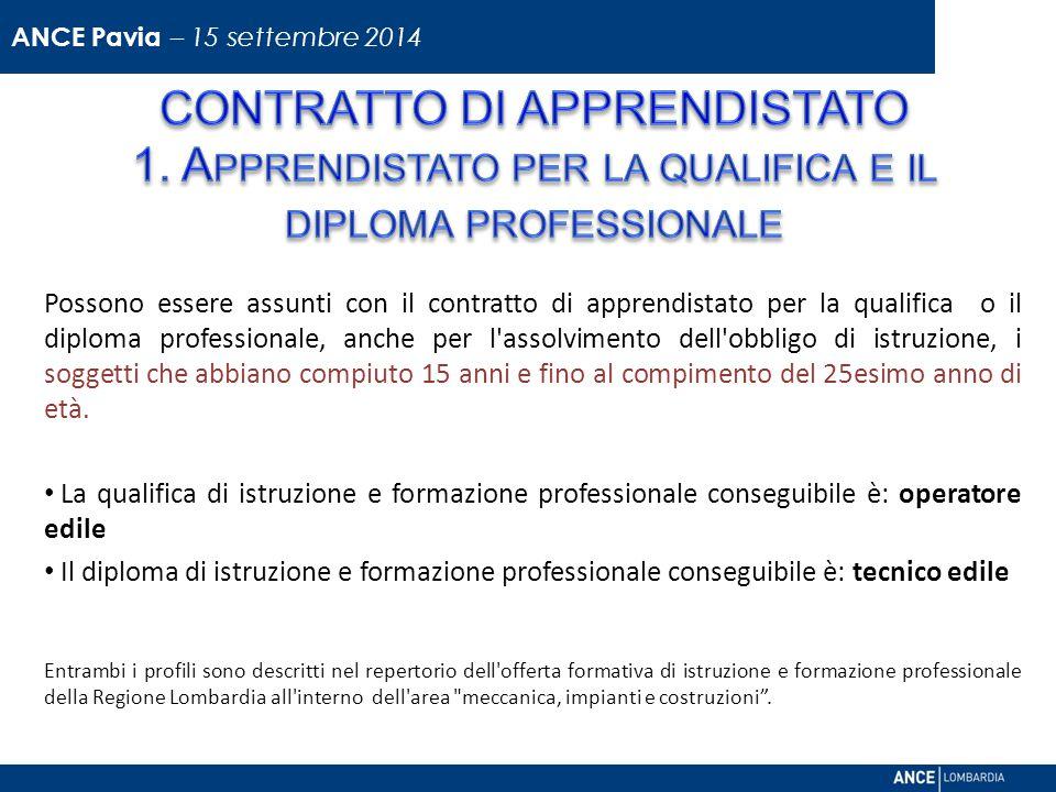ANCE Pavia – 15 settembre 2014 CONTRATTO DI APPRENDISTATO 1. Apprendistato per la qualifica e il diploma professionale.