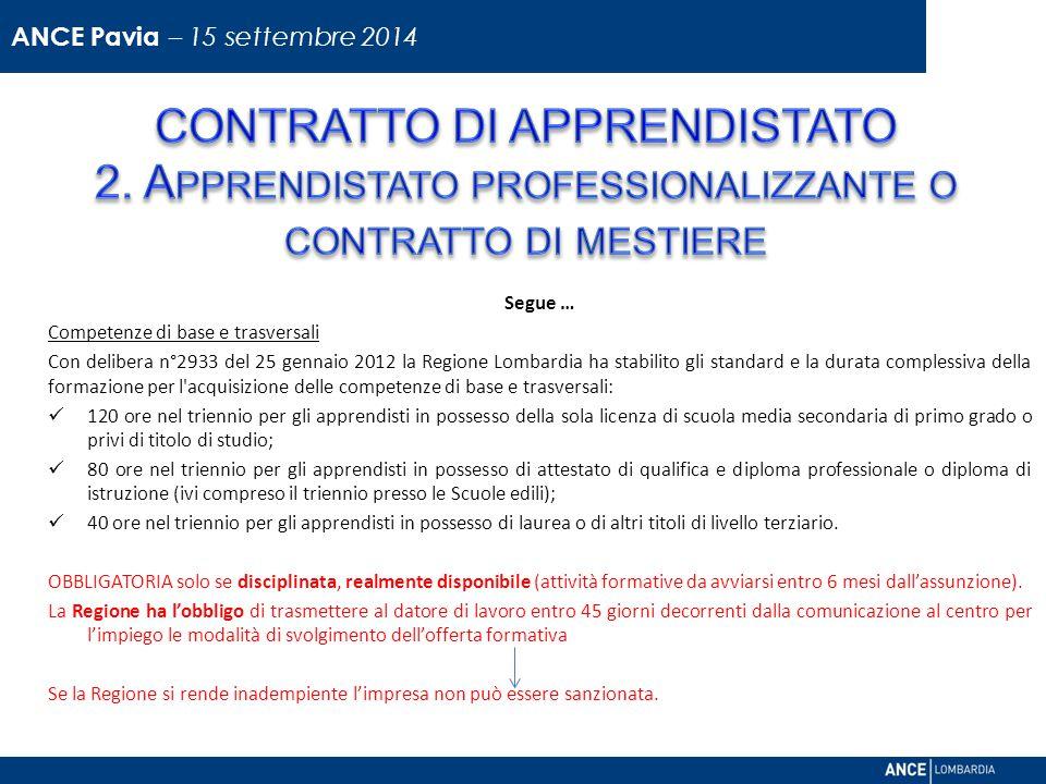 ANCE Pavia – 15 settembre 2014 CONTRATTO DI APPRENDISTATO 2. Apprendistato professionalizzante o contratto di mestiere.