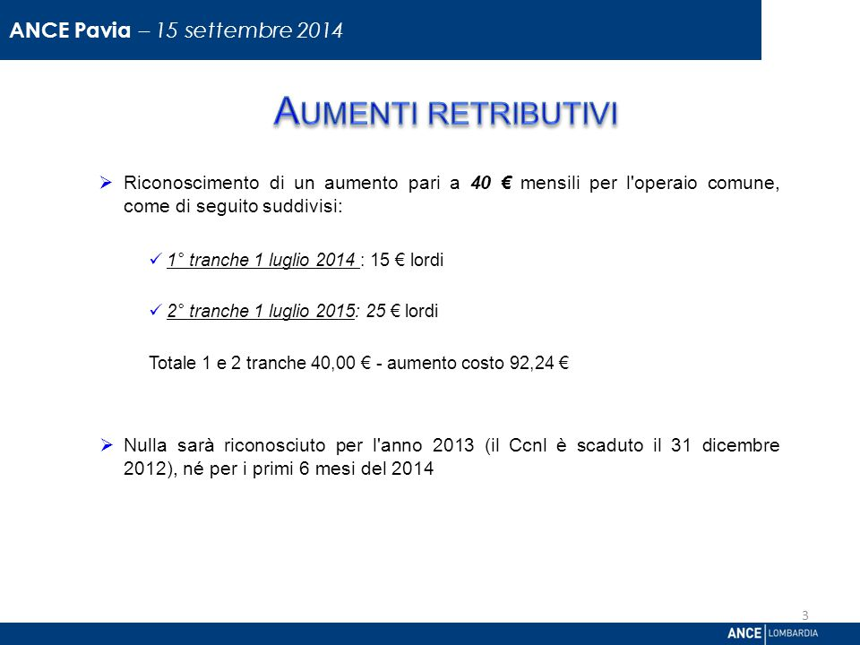 Aumenti retributivi ANCE Pavia – 15 settembre 2014