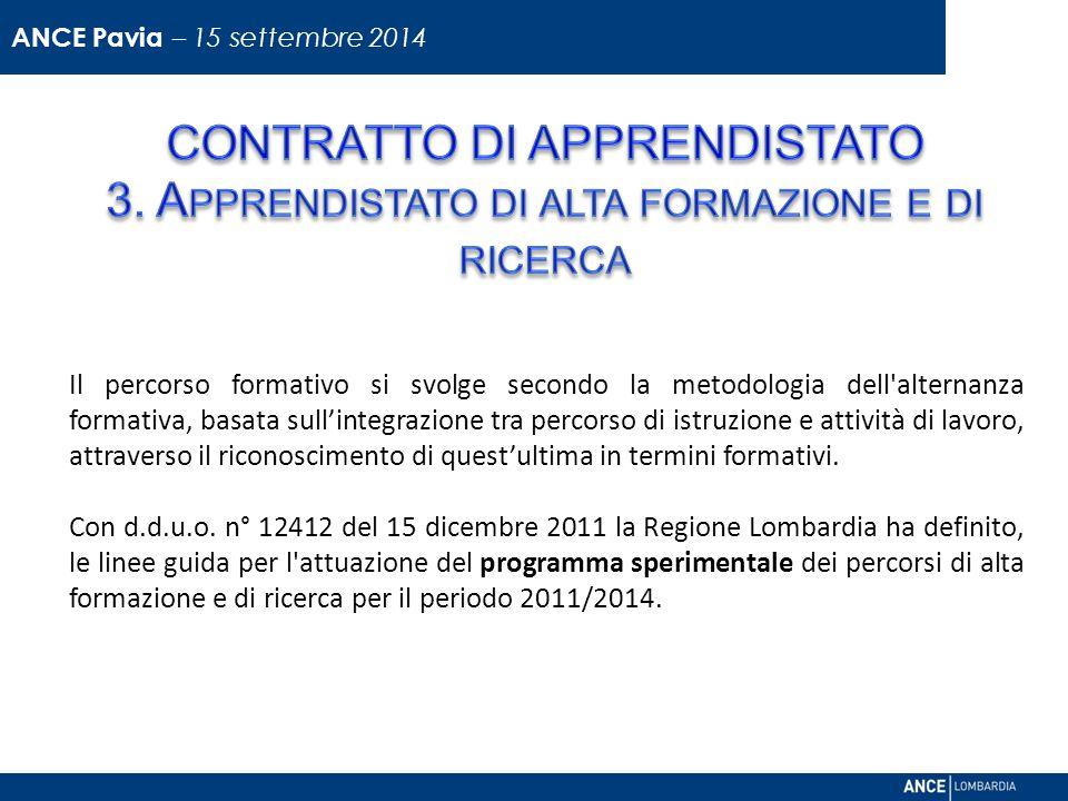 ANCE Pavia – 15 settembre 2014 CONTRATTO DI APPRENDISTATO 3. Apprendistato di alta formazione e di ricerca.