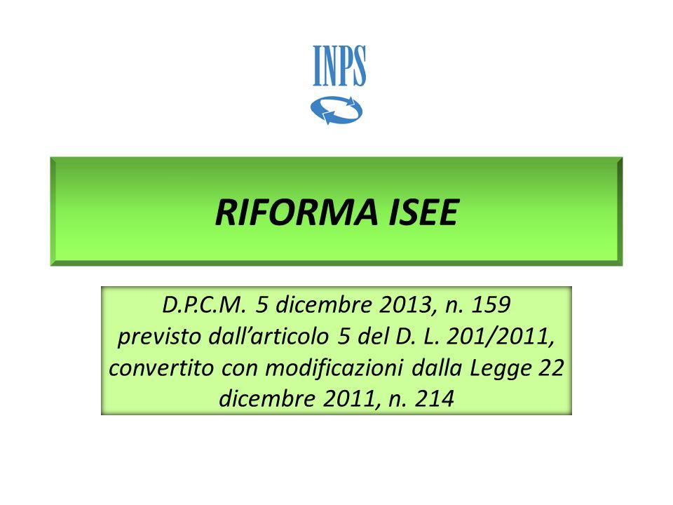 RIFORMA ISEE D.P.C.M. 5 dicembre 2013, n. 159