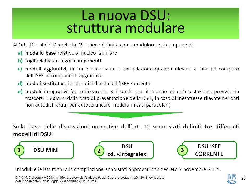 La nuova DSU: struttura modulare